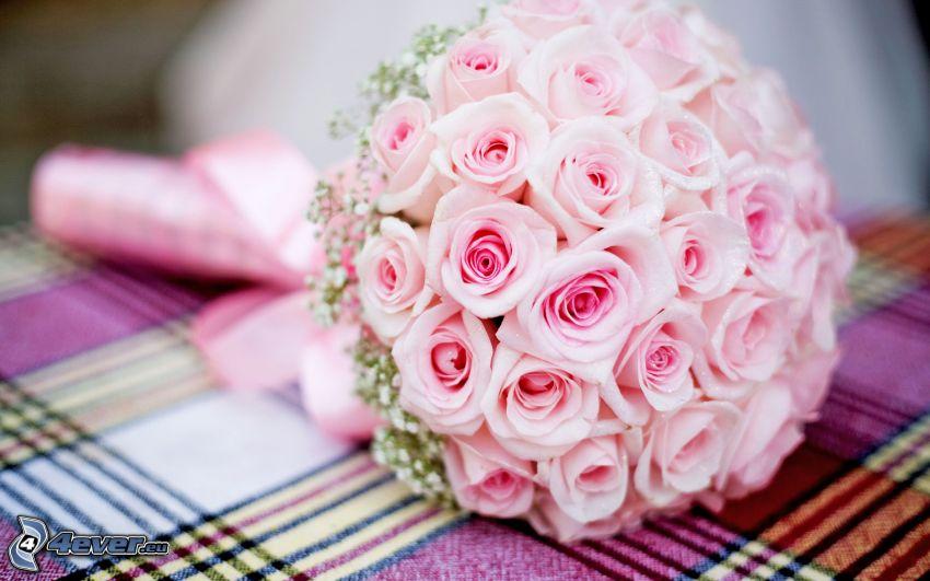 svadobná kytica, ružové ruže