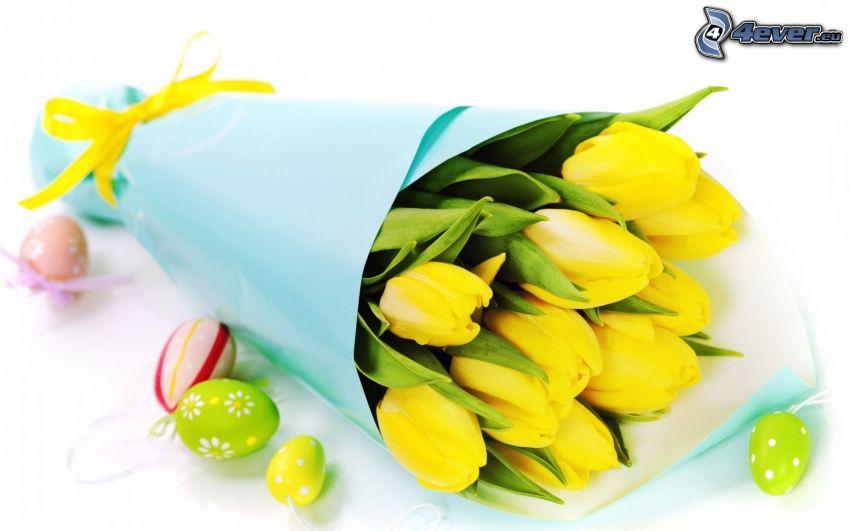 žlté tulipány, veľkonočné vajíčka