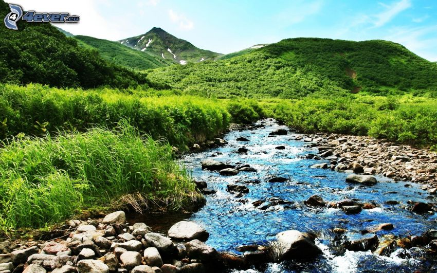 rieka, pohorie, zeleň