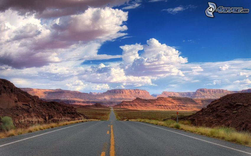 rovná cesta, oblaky, USA