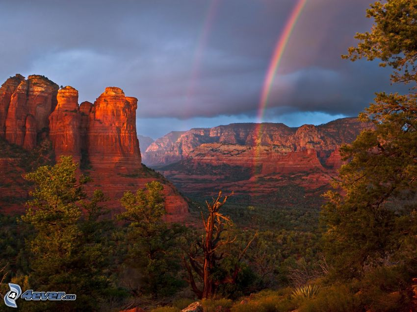 Sedona - Arizona, Monument Valley, dúha