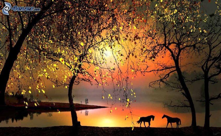 siluety koní, západ slnka za jazerom, stromy, večer