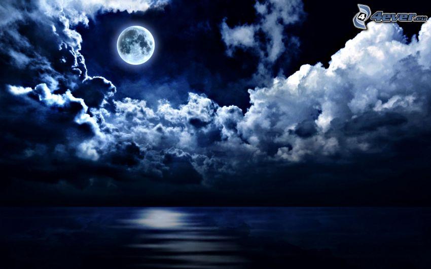 šíre more, mesiac, tmavé oblaky, noc