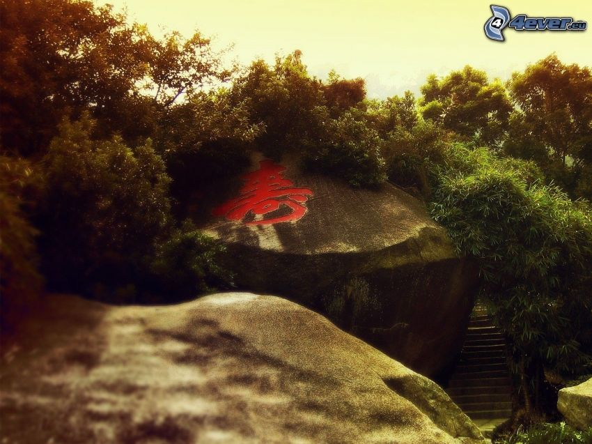 skaly, znak, zeleň, schody