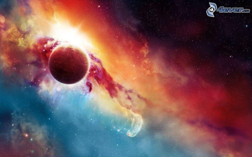 farebná hmlovina, červená planéta