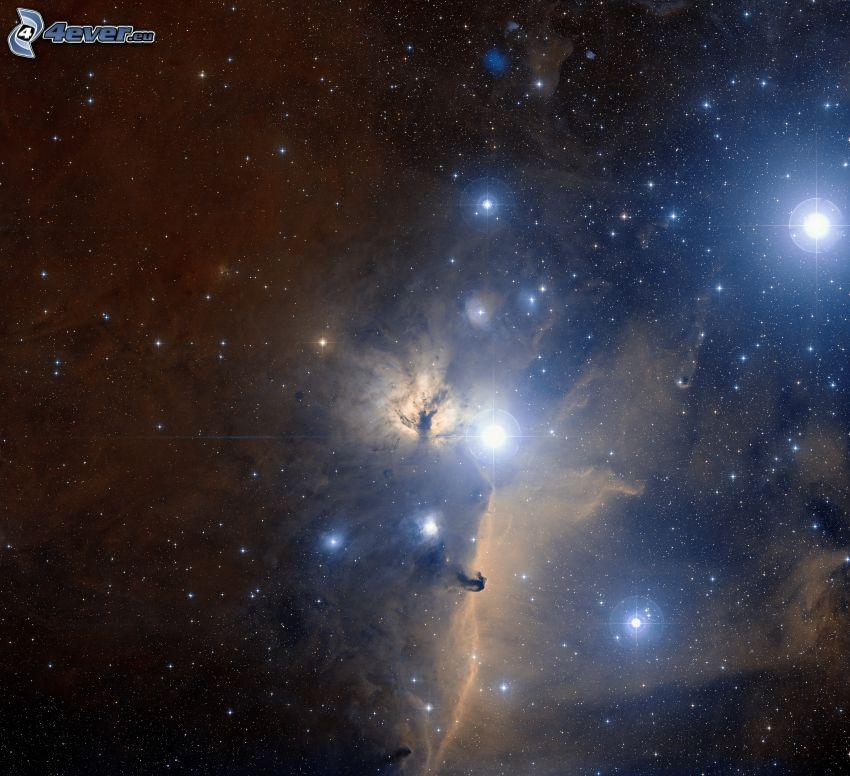 Hmlovina konská hlava, hviezdna obloha