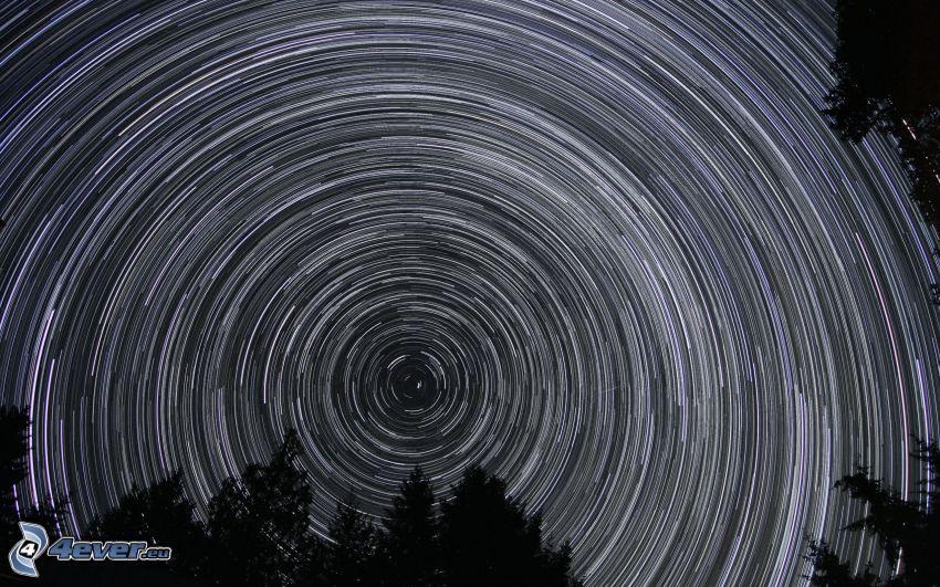 nočná obloha, hviezdna obloha, rotácia Zeme