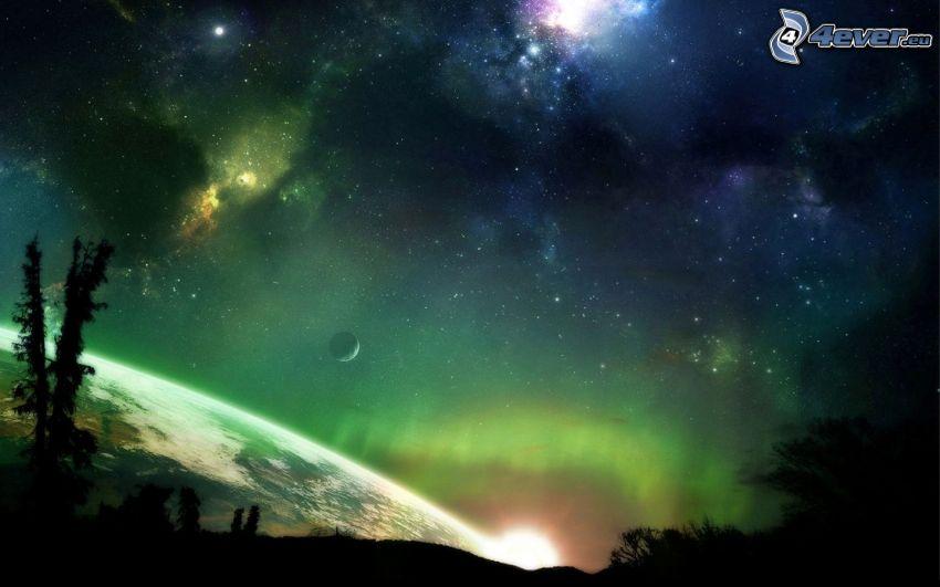 nočná obloha, planéty, hmloviny
