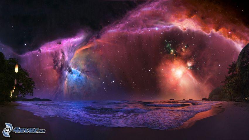 nočná obloha, pláž, hmloviny, hviezdy