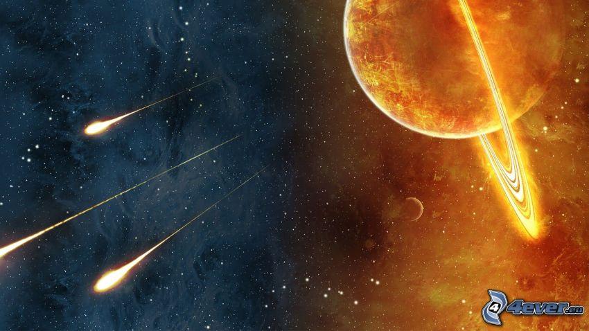 planéta, meteority