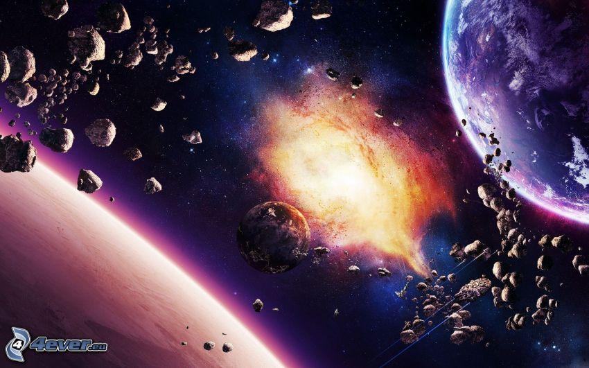 planéty, pás asteroidov, hmlovina, Zem