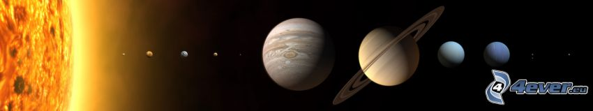 slnečná sústava, planéty, slnko, Merkúr, Venuša, Zem, Mars, Jupiter, Saturn, Urán, Neptún