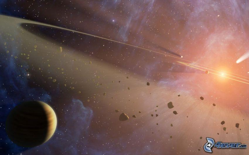 slnko, meteority, planéta