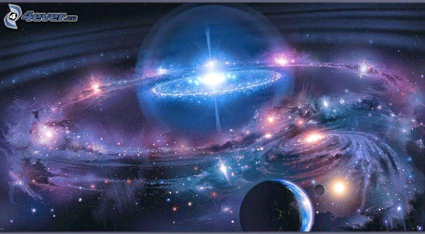 vesmír, polárna žiara, planéty, hviezdy