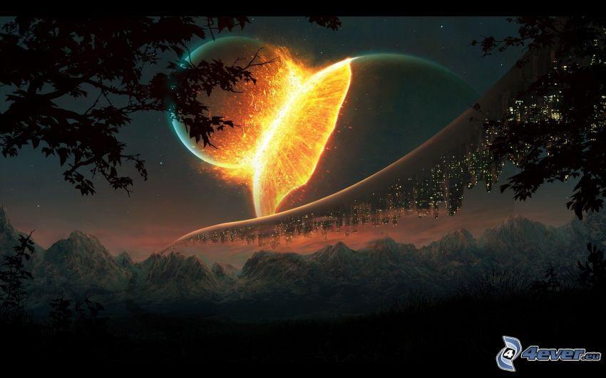 vesmírna zrážka, iskrenie, planéty, hory, sci-fi