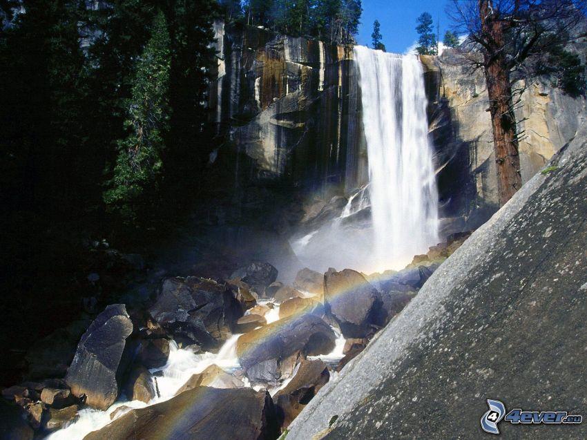 vodopády, dúha, Yosemitský národný park