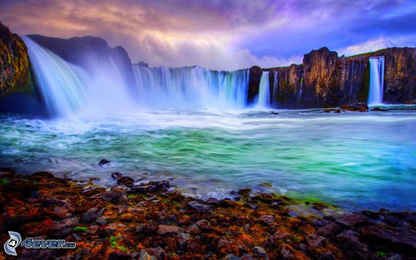 vodopády, jazero