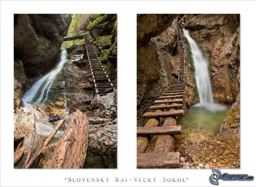 vodopády, rebrík, Veľký Sokol, Slovenský Raj