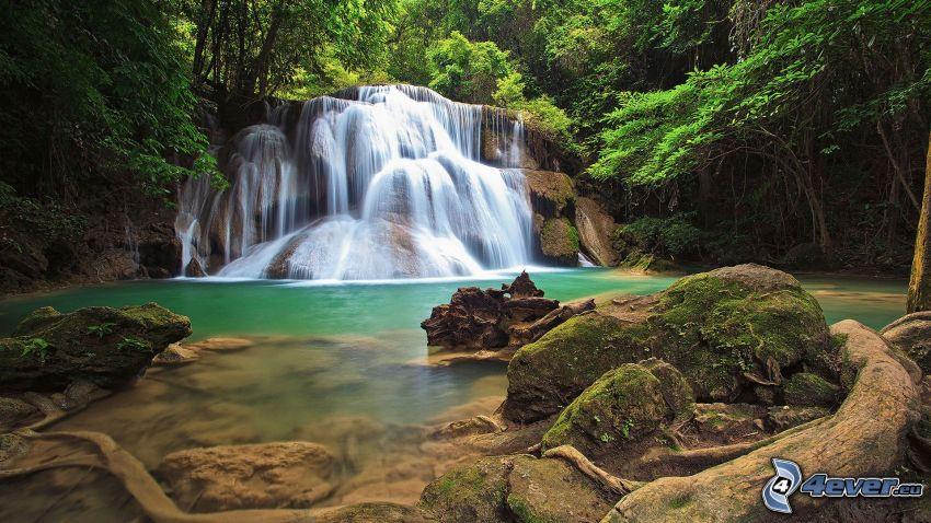 vodopády, rieka, skaly, les