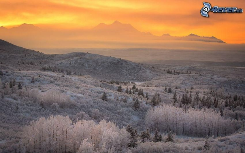 zamrznutá krajina, východ slnka, oranžová obloha