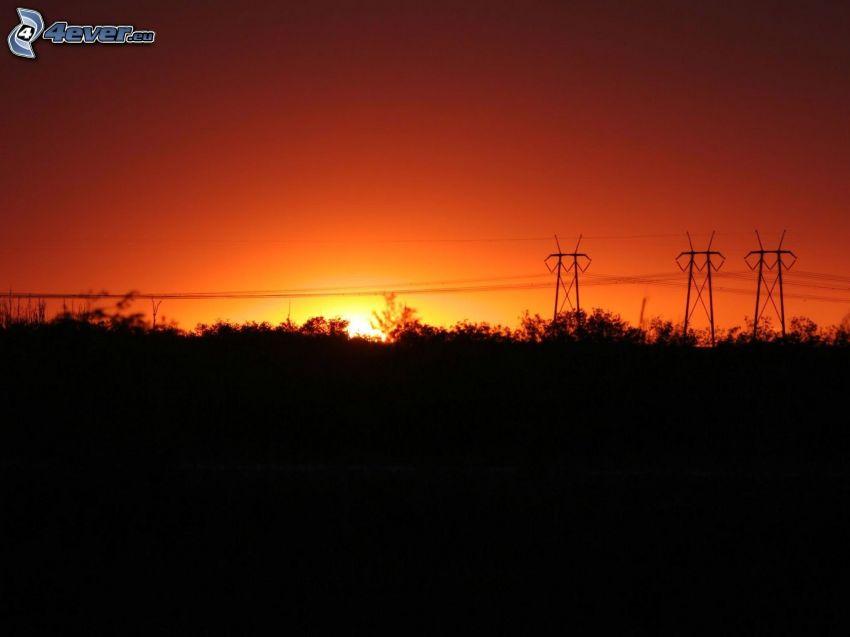 západ slnka, elektrické vedenie, oranžová obloha