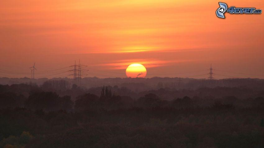 západ slnka za lesom, elektrické vedenie, oranžová obloha