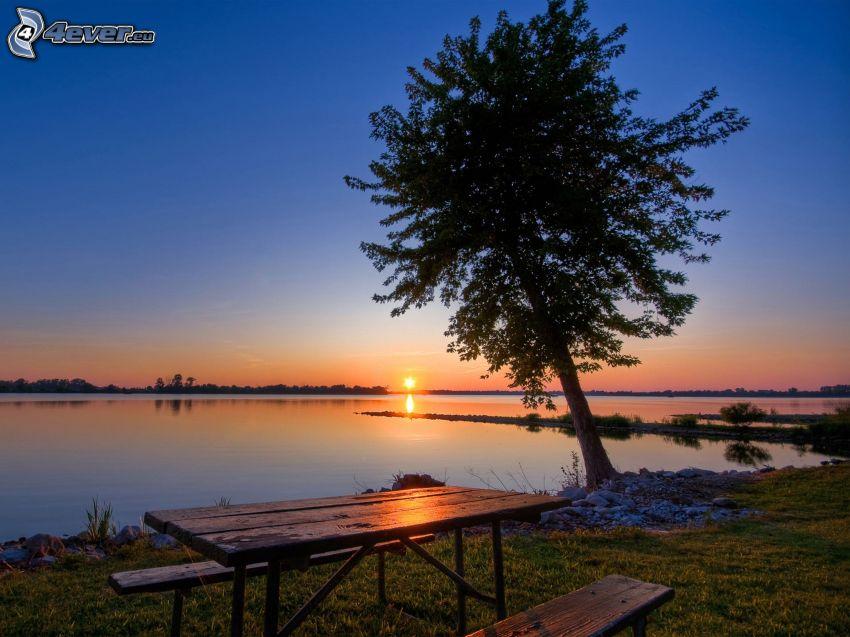 západ slnka za morom, strom, stôl, lavičky