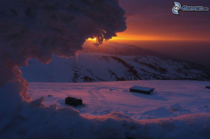 zasnežená krajina, západ slnka, ľad