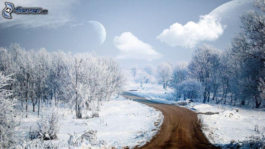 zimná cesta, zasnežená krajina, mesiac