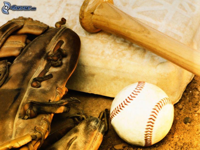 baseballová loptička, basebalová pálka, rukavice