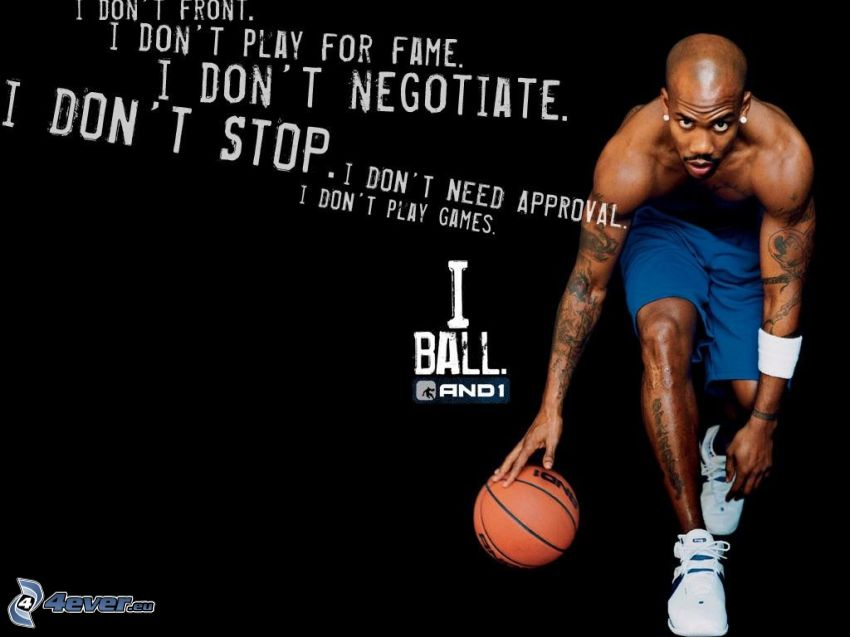 basketbalista, plagát, černoch, hráč