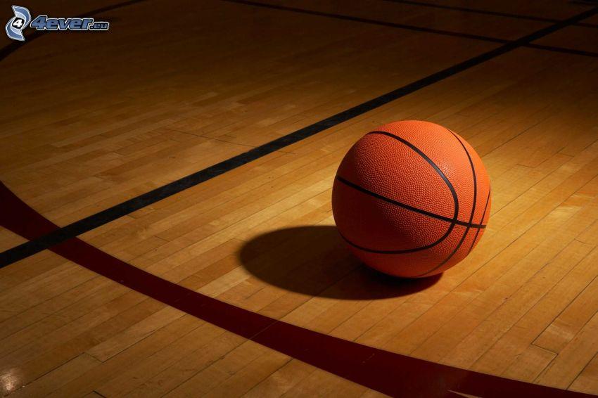 basketbalová lopta, podlaha, čiary