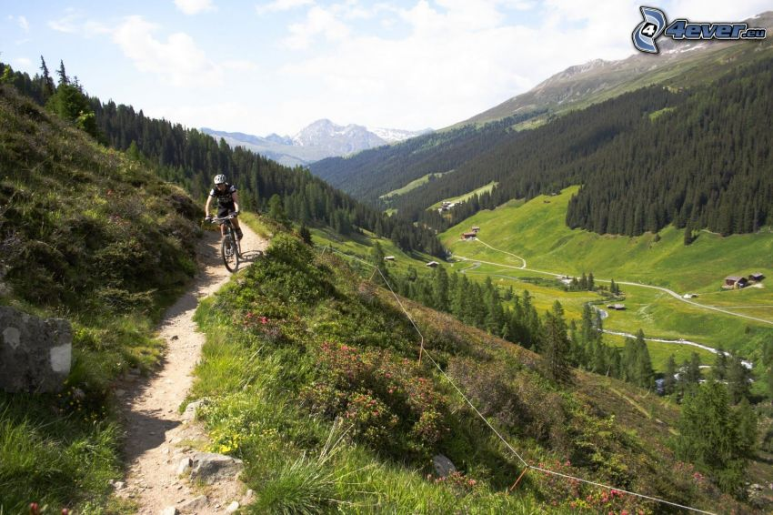 mountainbiking, Alpy, výhľad na údolie, veľhory