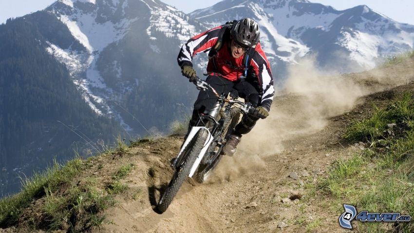 mountainbiking, MTB Downhill, cyklista, hory