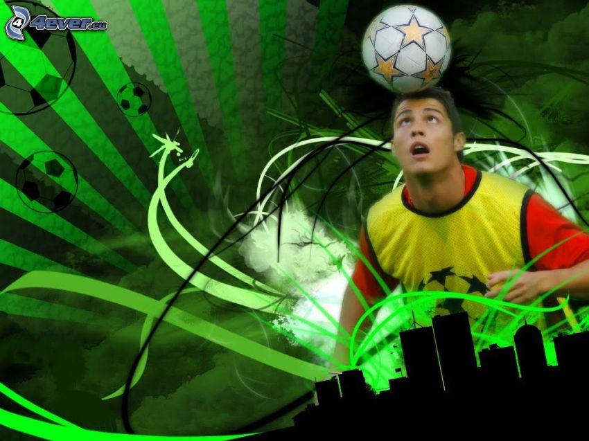 Cristiano Ronaldo, futbalová lopta, siluety mrakodrapov, zelené pozadie