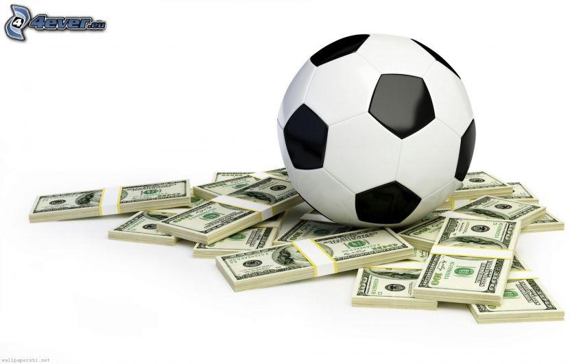 futbalová lopta, doláre