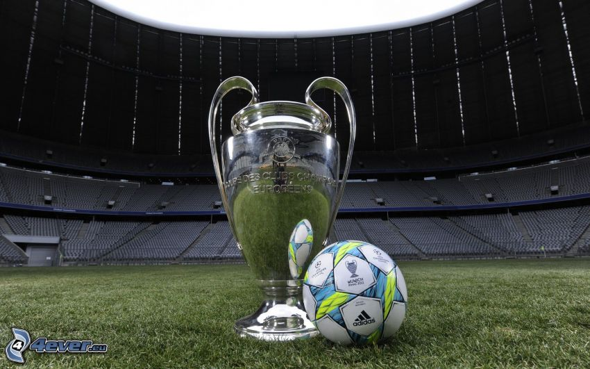 futbalová lopta, pohár, futbalový štadión, tráva