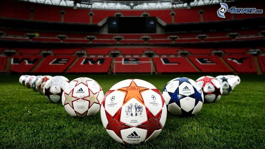 futbalová lopta, štadión