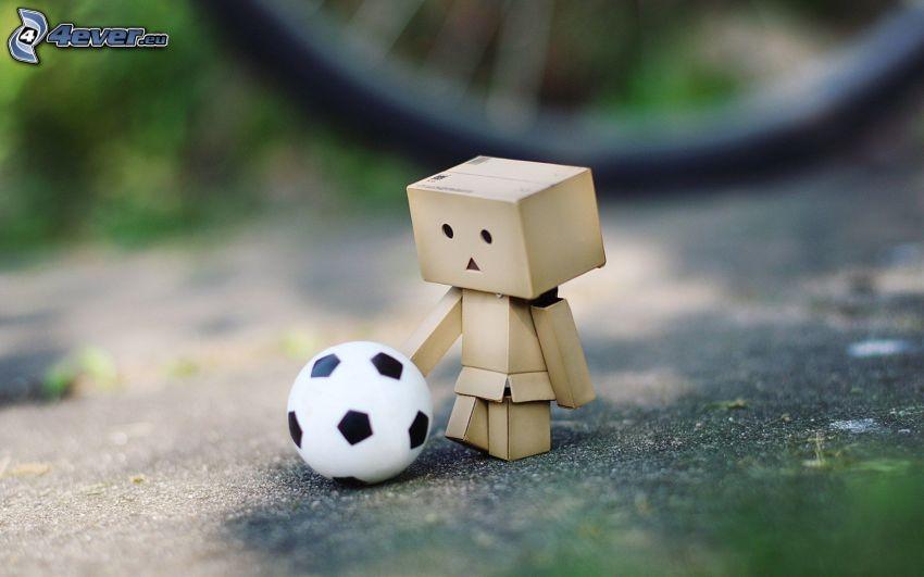 papierový robot, futbalová lopta