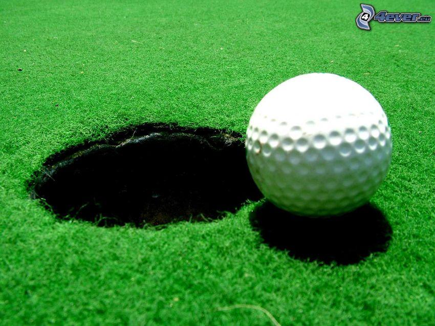 golf, golfová loptička, jamka