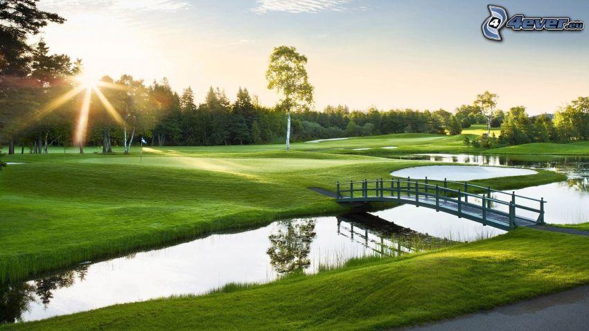 golfové ihrisko, jazierko, rieka, most, les, západ slnka