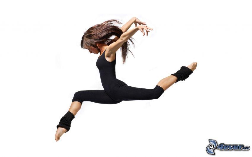 gymnastka, skok, brunetka