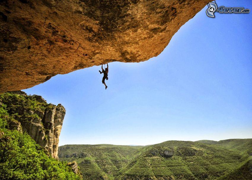horolezec, skala, pohorie