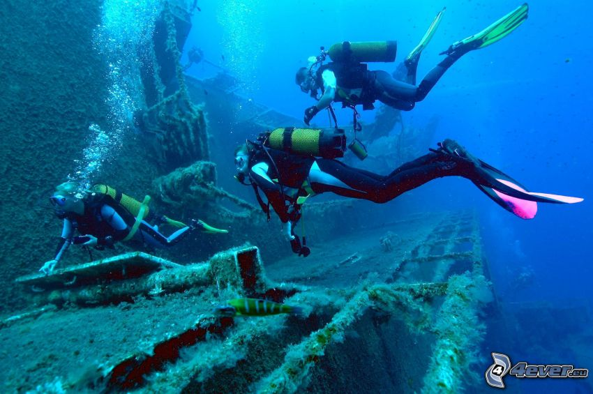 potápači, vrak lode