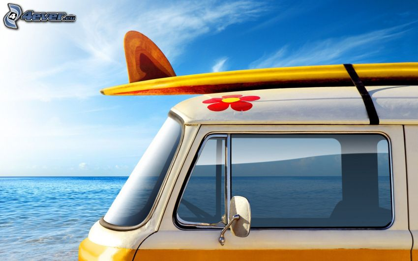 surf, dodávka, more