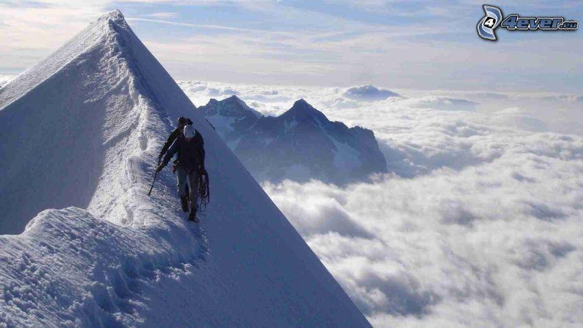 turisti, zasnežené hory, vrch, nad oblakmi