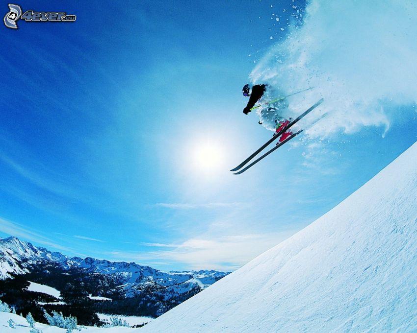 extrémne lyžovanie, skok na lyžiach, slnko