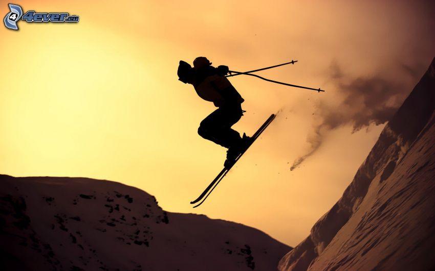 lyžovanie, skok na lyžiach, po západe slnka, sneh