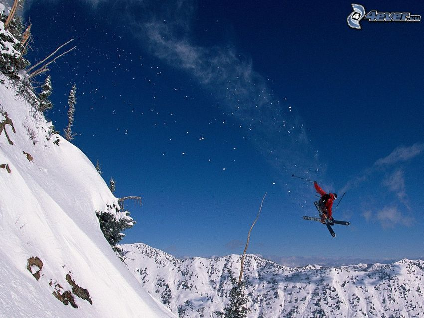 lyžovanie, skok na lyžiach, zasnežené kopce