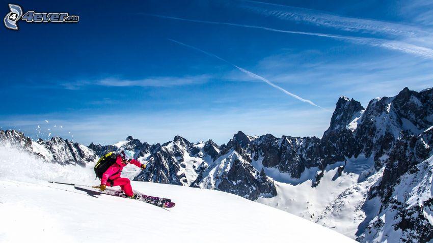 lyžovanie, zasnežené kopce, skalnaté hory